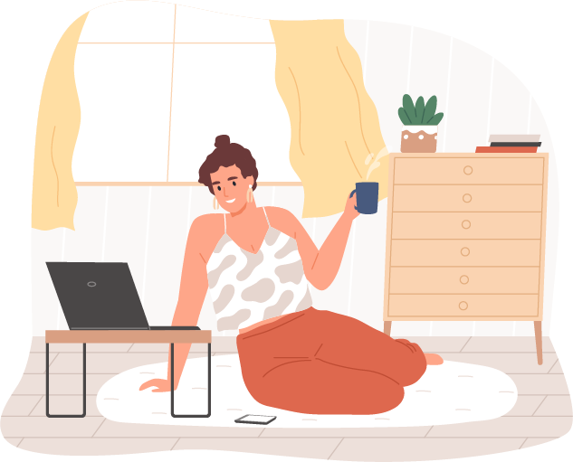 Illustration of woman having coffee and with laptop